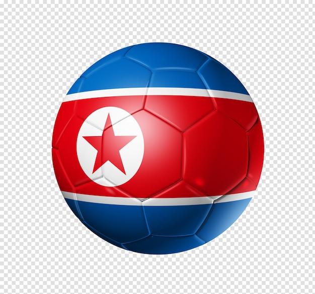 3d piłki nożnej z flagą drużyny korei północnej