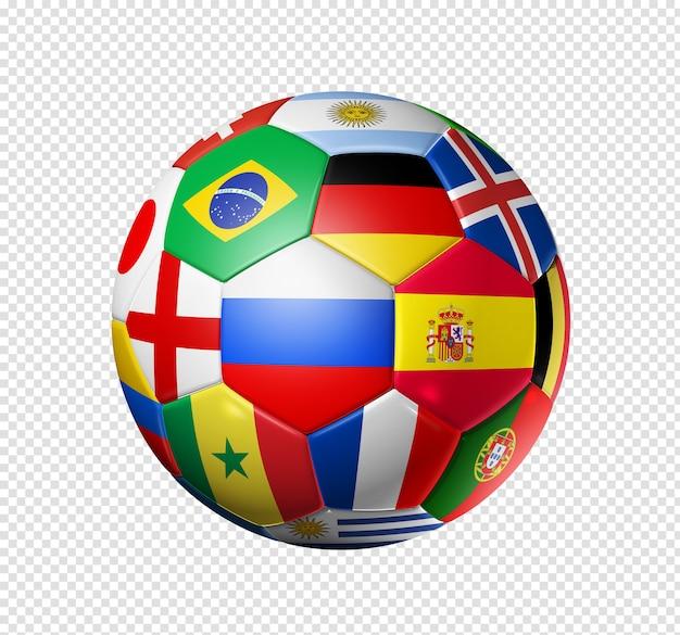 3d piłki nożnej z flagami narodowymi zespołu