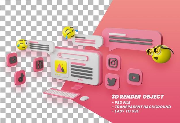3d platforma mediów społecznościowych online aplikacje komunikacji społecznej koncepcja emoji premium psd