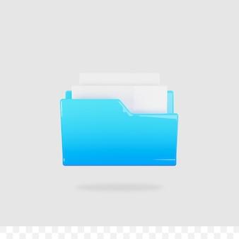 3d plik dokumentu błyszczący metaliczny gradient na białym tle