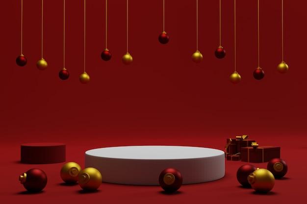 3d podium świąteczne tło z czerwonym kolorem