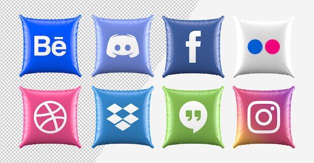 3d poduszka ikony mediów społecznościowych