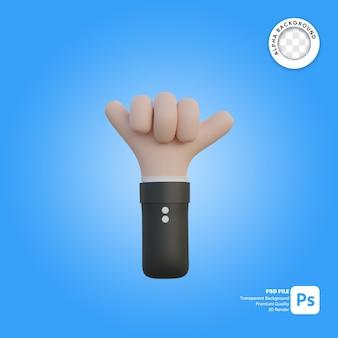 3d połączenie gestu dłoni z tyłu