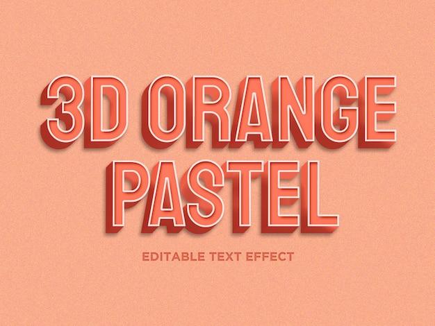 3d pomarańczowy pastelowy kolor efekt tekstowy premium psd