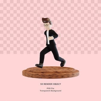 3d postać człowieka biegać poza na podium renderowane premium psd