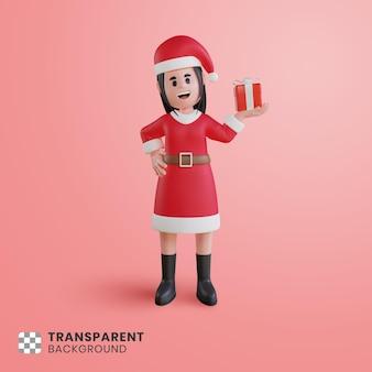 3d postać dziewczyny w stroju świętego mikołaja z pudełkiem prezentowym