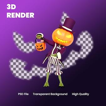 3d postać halloween dynia pokazująca cukierkową pozę ilustrację