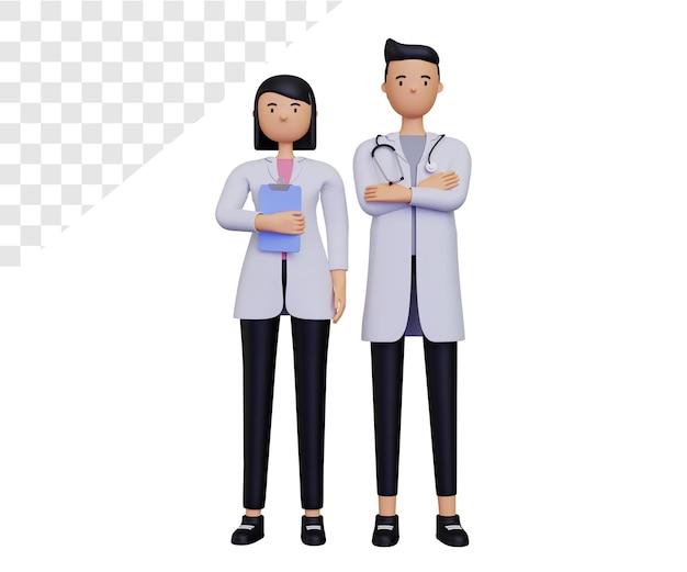 3d postać kobiecego lekarza i męskiego lekarza