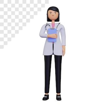 3d postać lekarza kobiecego trzymającego notatkę