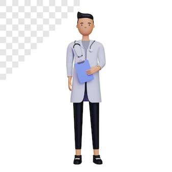 3d postać lekarza mężczyzny trzymającego notatkę