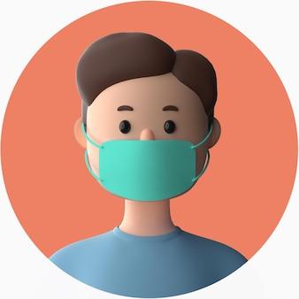 3d postać z kreskówki noszenie makiety maski na twarz