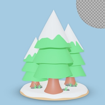 3d projekt renderowania choinki na białym tle