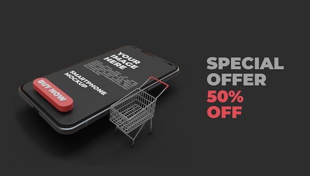 3d promocja sprzedaży z makietą ekranu smartfona