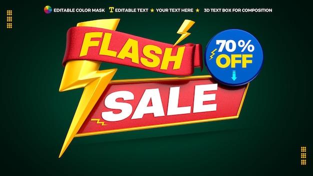 3d promocyjny baner sprzedaży flash z okrągłym polem tekstowym i wstążką
