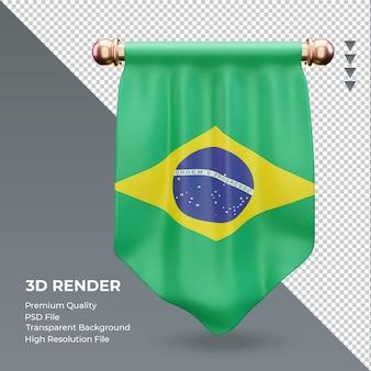 3d proporzec flaga brazylii renderujący widok z przodu