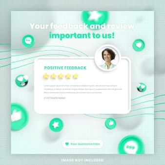 3d przegląd opinii klientów lub szablon postu na instagramie w mediach społecznościowych z makietą