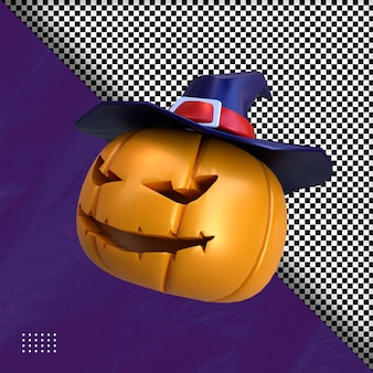 3d przerażająca dynia halloween ilustracja premium psd