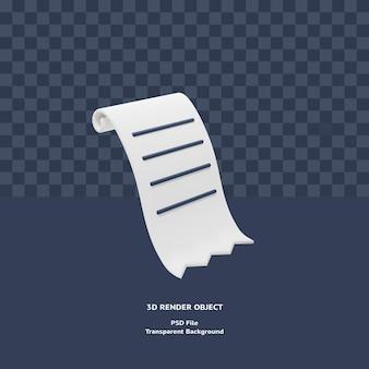 3d rachunek faktura paragon płatność ikona ilustracja obiekt renderowany