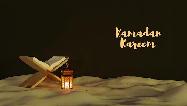 3d ramadan kareem dekoracja z lampą i piaskiem