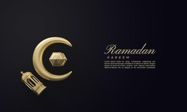 3d ramadan kareem renderowania ze złotym księżycem i światłami na ciemnym tle