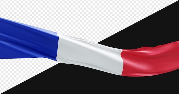 3d realistyczna flaga francji na białym tle