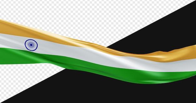 3d Realistyczna Flaga Indii Na Białym Tle Premium Psd