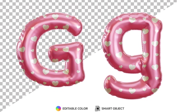 3d realistyczna litera g alfabet z różowymi balonami z helem z wielkimi i małymi literami