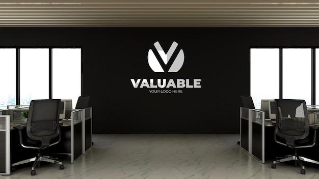3d realistyczna makieta logo w przestrzeni roboczej biura