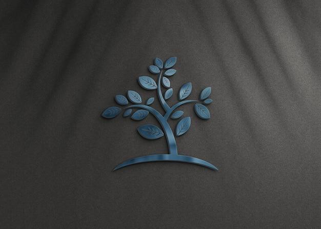3d realistyczna makieta logo z nakładką cienia roślin