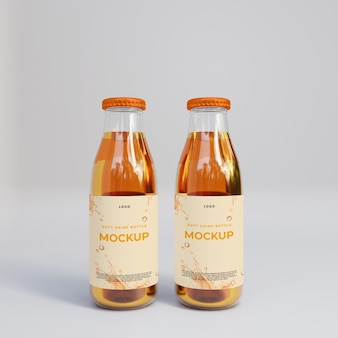 3d realistyczna makieta szklanej butelki soku