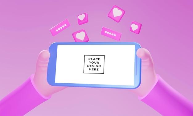 3d realistyczna ręka z makietą smartfona z pływającym ornamentem serca