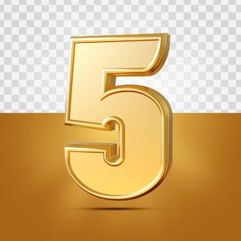 3d realistyczne 5 numerów złota na białym tle