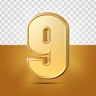 3d realistyczne 9 cyfr złota na białym tle