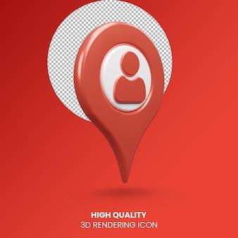 3d realistyczne renderowanie wskaźnik pin ikona lokalizacji osoby