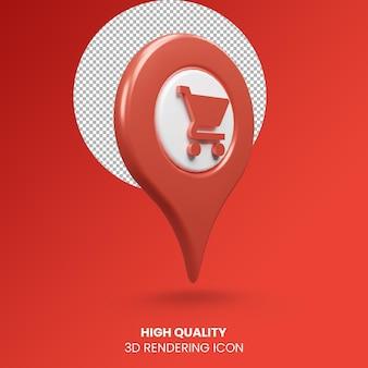 3d realistyczne renderowanie wskaźnik pinezka ikona lokalizacji zakupów