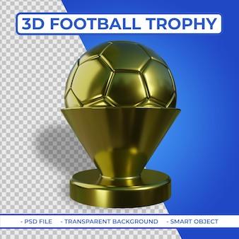 3d realistyczne złote metalowe trofeum piłkarskie renderowanie 3d na białym tle