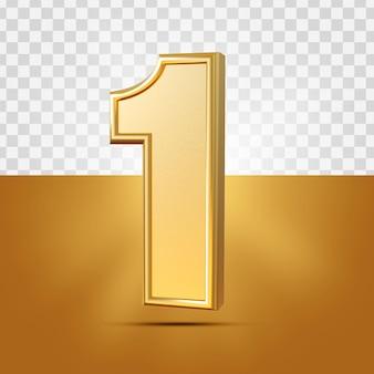 3d Realistyczny 1 Numer Złota Na Białym Tle Premium Psd