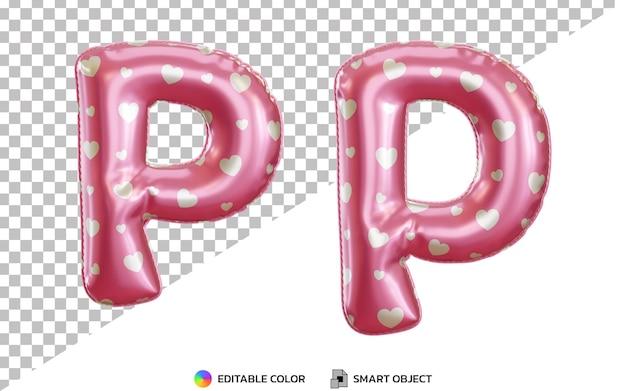 3d realistyczny alfabet litery p z różowym helem z balonem foliowym z dużymi i małymi literami