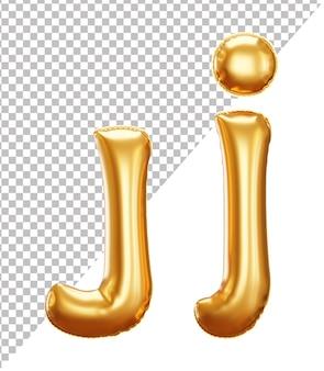 3d realistyczny alfabet z literą j złotej folii helowej z wielkimi i małymi literami