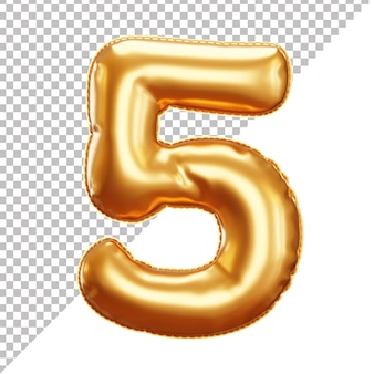 3d realistyczny balon foliowy złoty helem numer 5 na białym tle