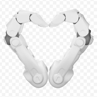 3d ręce robota pokazują gest serca na białym tle ilustracja 3d