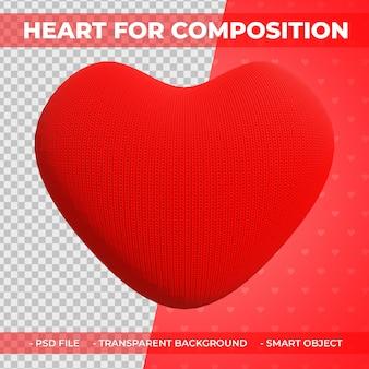 3d red fabric love or heart shape do kompozycji renderowania 3d