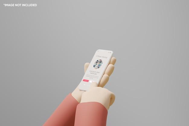 3d ręka kreskówka trzymać smartfon gliny makieta