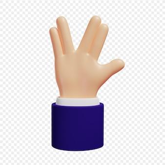 3d ręka pokazuje gest vulcan salute cześć gest na białym tle ilustracja 3d