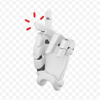 3d ręka robota pokazująca gest przystawki palcem z czerwonym dźwiękiem na białym tle ilustracja 3d