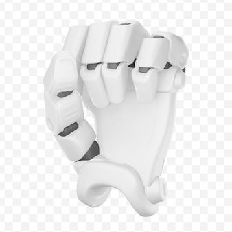 3d ręka robota w pięści podniesiona lub przebijająca gest emoji na białym tle ilustracja 3d