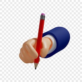 3d ręka trzyma czerwony ołówek aby robić szkice notatki izolowana ilustracja renderowania 3d