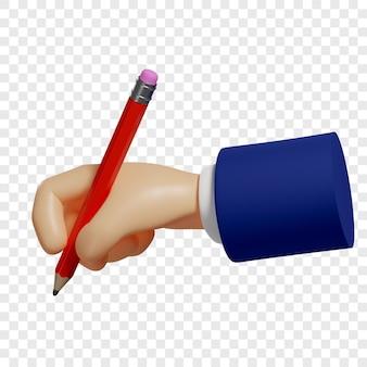 3d Ręka Trzyma Czerwony Ołówek Aby Robić Szkice Notatki Izolowana Ilustracja Renderowania 3d Premium Psd