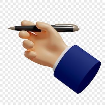 3d ręka trzyma długopis do robienia notatek do zapisywania izolowana ilustracja renderowania 3d