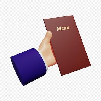3d ręka trzyma książkę z menu na białym tle ilustracja renderowania 3d